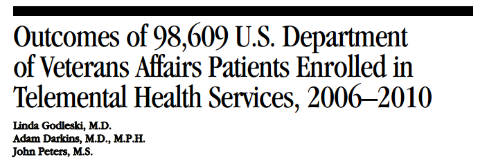 Outcomes of 98,609 U.S. Department  of Veterans Affairs Patients Enrolled in  Telemental Health Services, 2006–2010