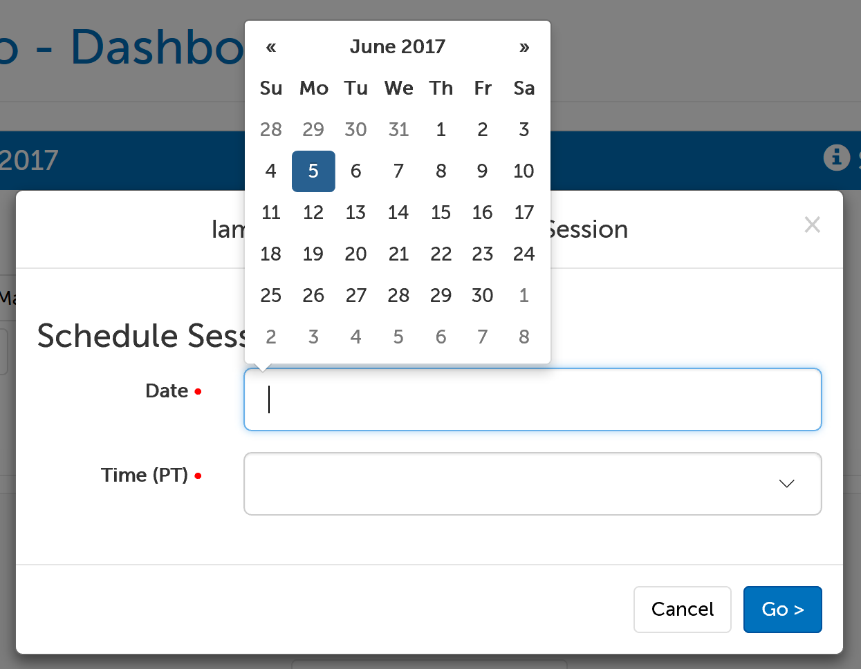 Calendar menu for selecting a session date