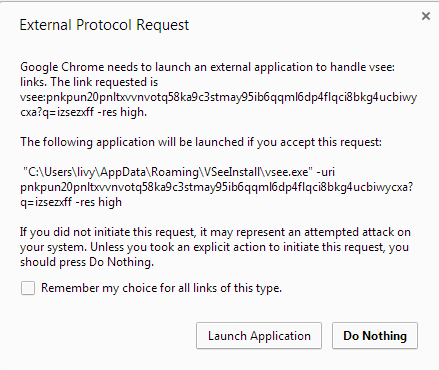 Screencap showing Chrome's External Protocol Request