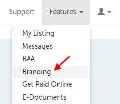 Branding; 4th in the drop-down menu