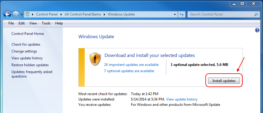 Screencap showing the install updates button
