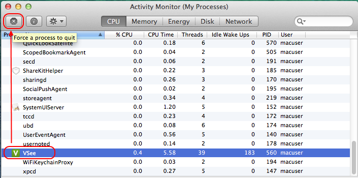 Screencap showing the Activity Monitor on a Mac