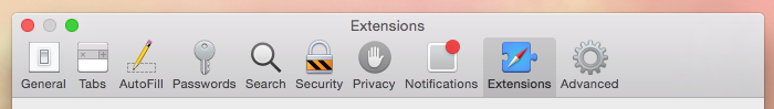 Extensions tab