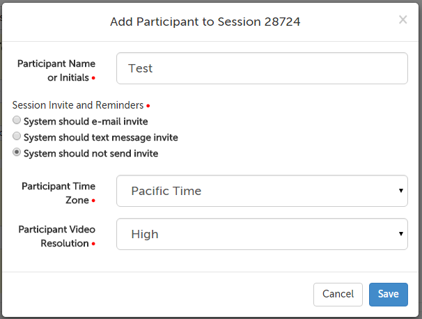Add Session Participant message