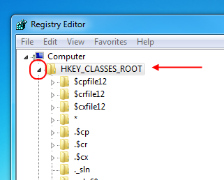 Showing the HKEY_CLASSES_ROOT directory