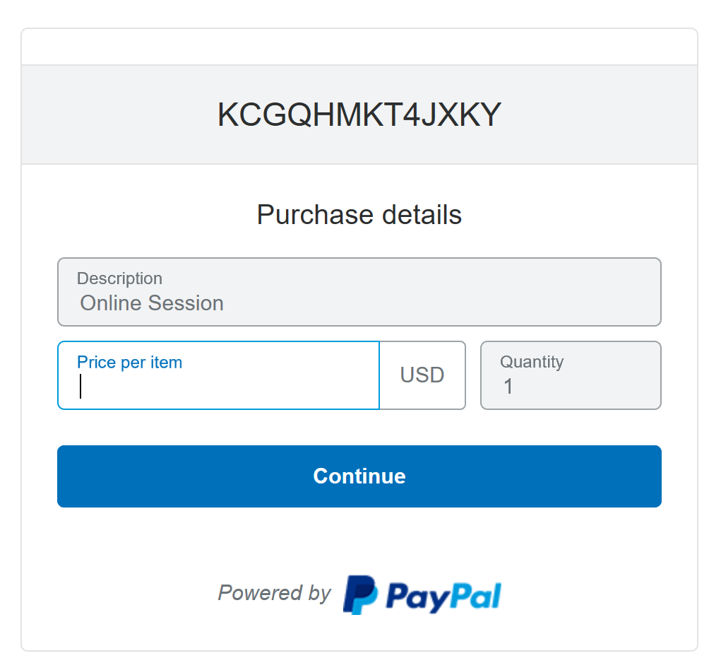 Example of PayPal payment screen