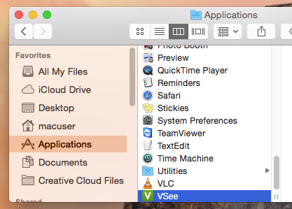 Applications folder on a Mac