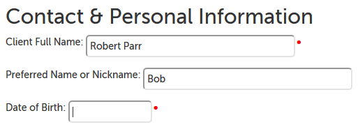 "Example questions; full name field has a red dot and ""Robert Parr"" entered; second field asks for a nickname, has ""Bob"" entered; third field hasn't been filled out yet, has red dot next to it"