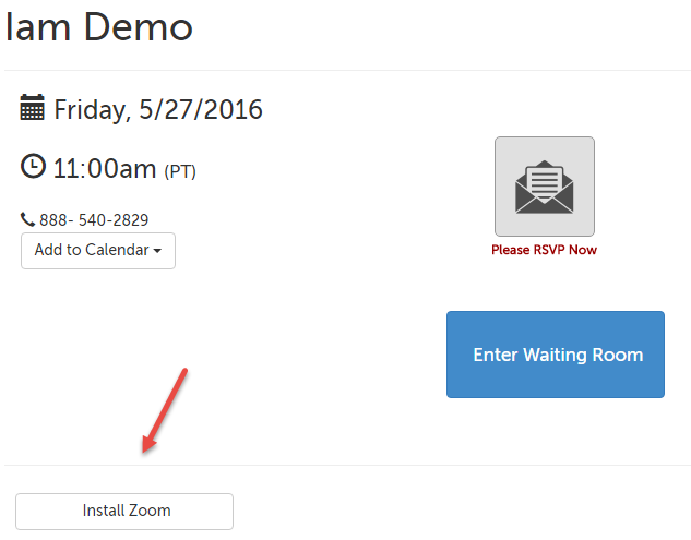 Install Zoom button on the waiting room page