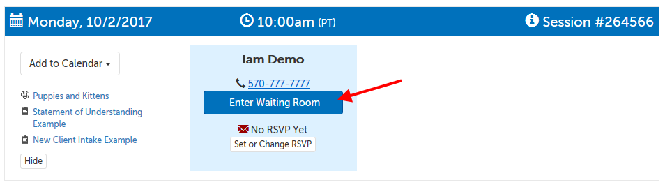 Enter Waiting Room button under scheduler's name
