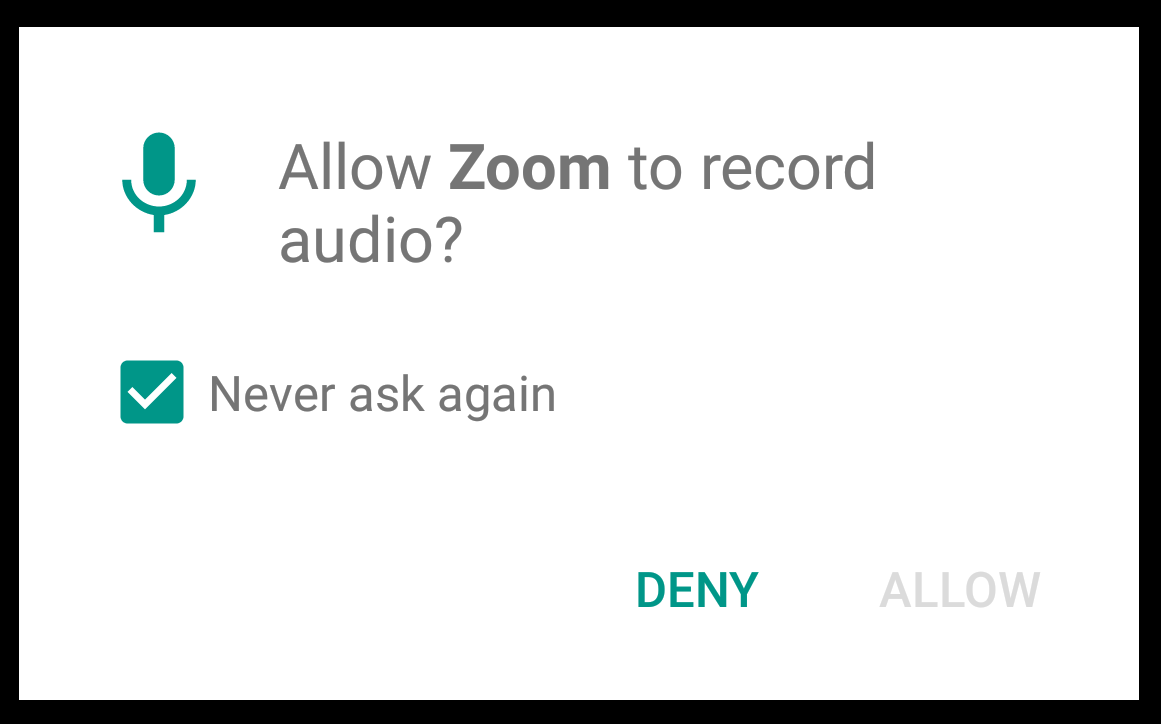Allow Zoom to record audio? Never ask again checked