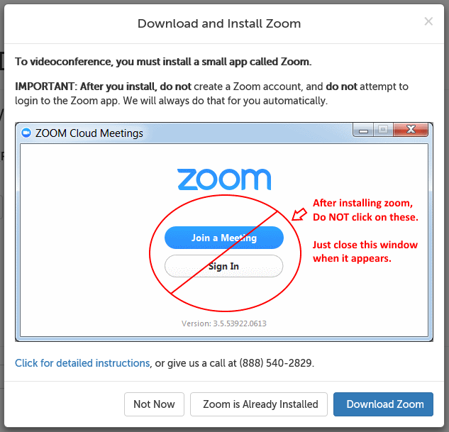 Download and install Zoom message