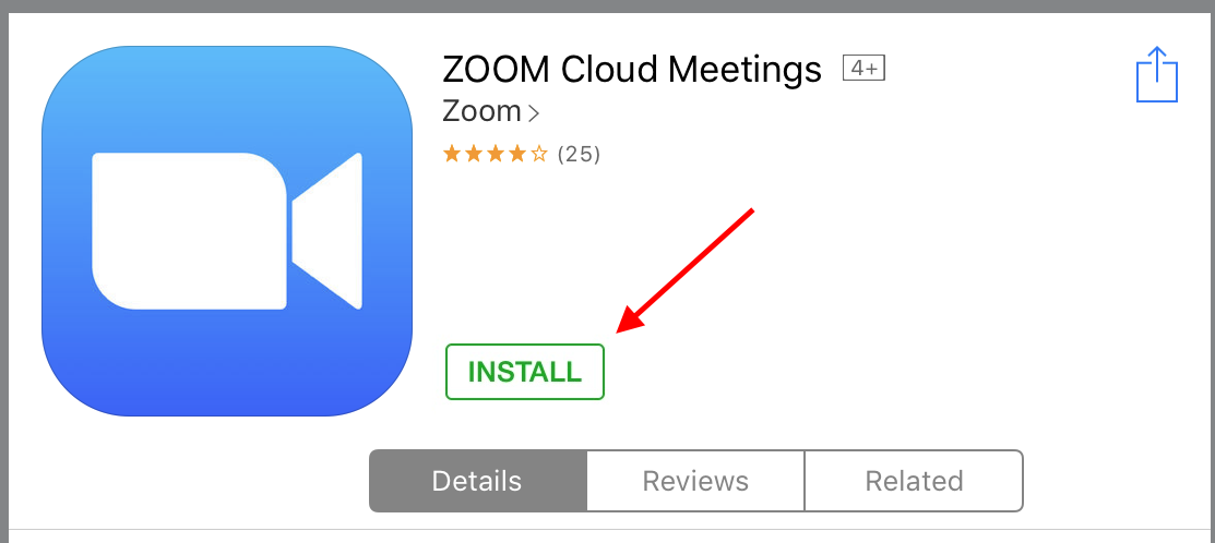 Zoom Install button