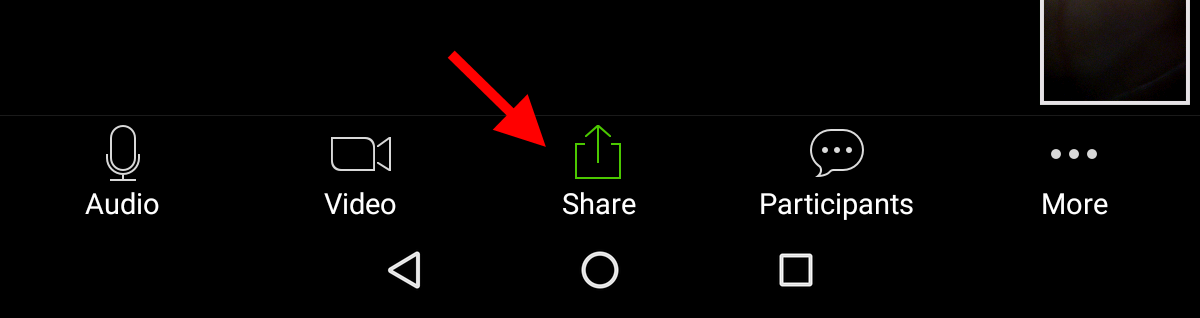 Share button on Android tablet