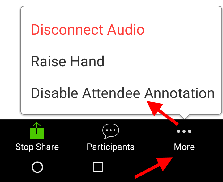 Disable participant annotation on Android tablet