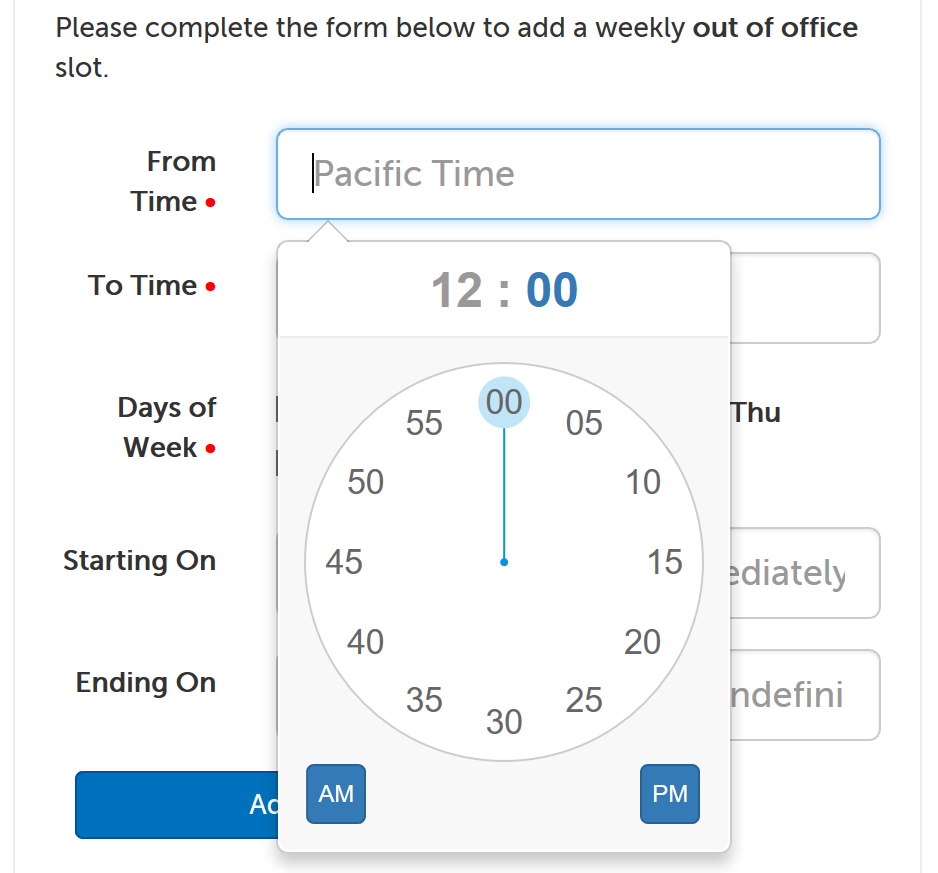 Time picker minutes