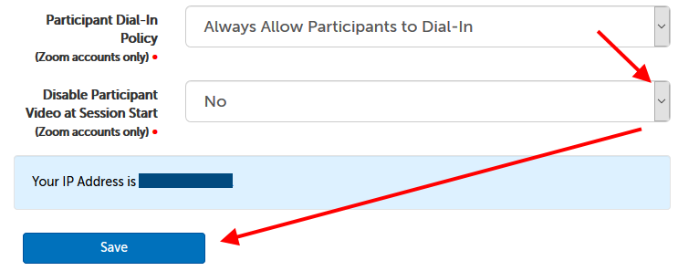 Participant Dial-In Policy setting