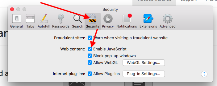 """Security"" tab, checkbox next to ""Enable JavaScript"""